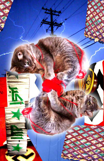 """Dehr Fuerer's Kitteh {(Propaganda Animation) Make You Think Things You Ain't Never Did Think}"", 2012, Digital archival print with original photography, 24"" by 36"""