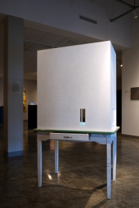 "Neu Museum of Contemporary Art, Enamel-Top Table and Mixed Media, 2012, 40""W x 25""L x 72""H"