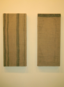 Mykolas, 2012 (2) burlap, wool, wood 1' x 3'