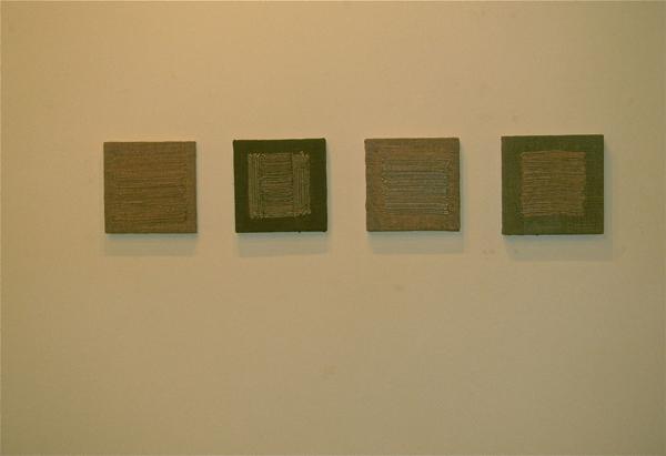 """Untitled, 2012  (4) (Site) Rocca Imperiale, Italy,  burlap, wood, wool, rocks  12"""" x 12"""""""