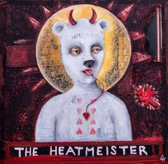 The Heatmeister, oil and collage on panel, 12x12 inches, 2013
