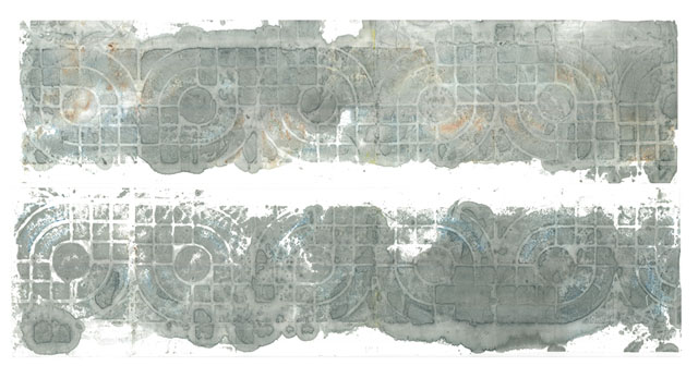 Wuhan Lù Index 62-8ABL 2013 sumi ink, dust and pigment on calligraphy paper 16in x 57in