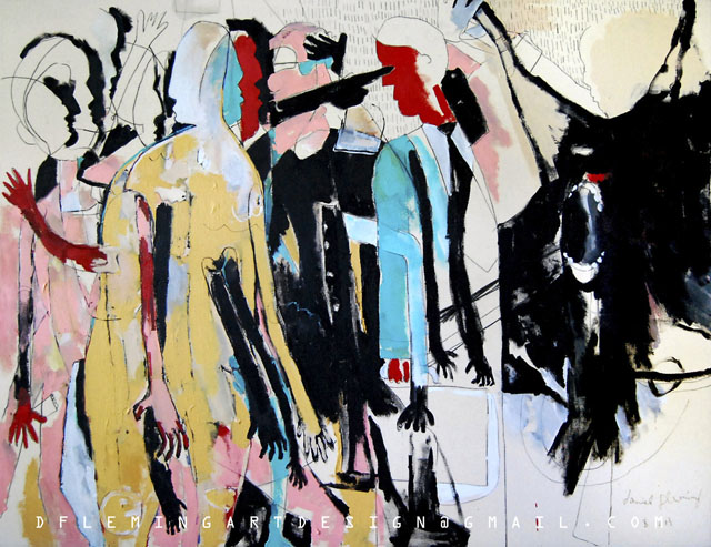 """Standing in Line at the Butcher Shop - The Prize Fight,   48x 62"""",  Acrylic, Ink and Charcoal on canvas,  2013"""