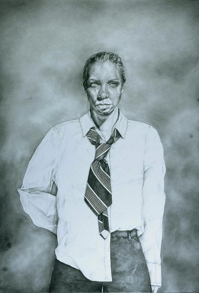 """The Clown, graphite, 34"""" x 26"""", 2005."""