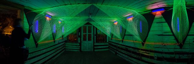 A Tale of Two Bridges, twine and blacklight, 2012.