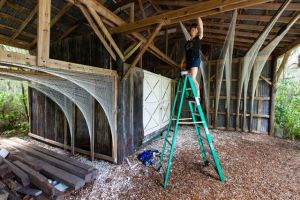 "Megan working onsite at ""Gossamer"" installation on Hilton Head Island, SC, 2013."