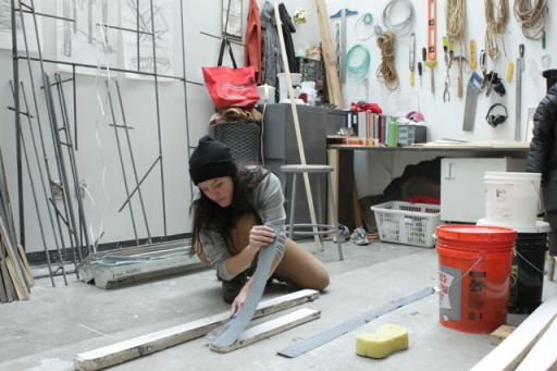 Suzanne working in her studio.