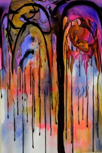 COLOR TREE, photography based digital image printed on acrylic painting on watercolor paper, 28x36, 2013