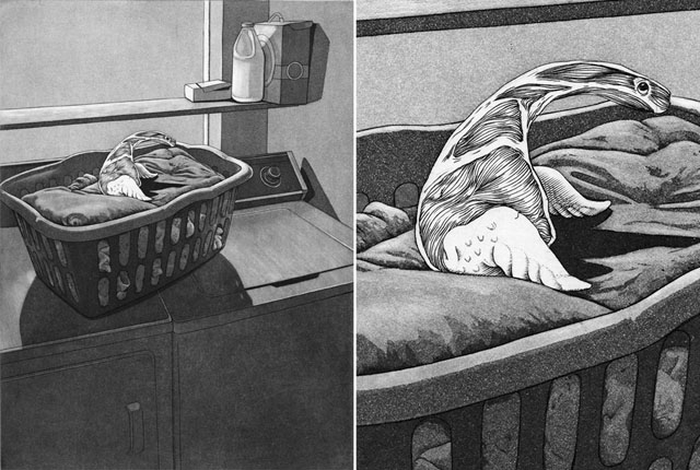 "Fresh Laundry engraving, aquatint , 10.5"" x 8"" , 2013"