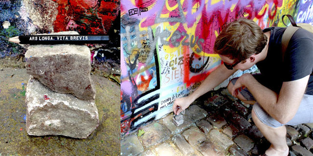 """Pencils"", Dropping 1 of 1,000 custom pencils at The John Lennon Wall in Prague, 3.25"" each, 2013"