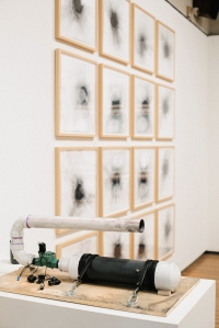 "mpact(s),  2011-2012, air cannon, bike pump, graphite powder, and 16 graphite impact prints on BFK, prints 20""x20"""