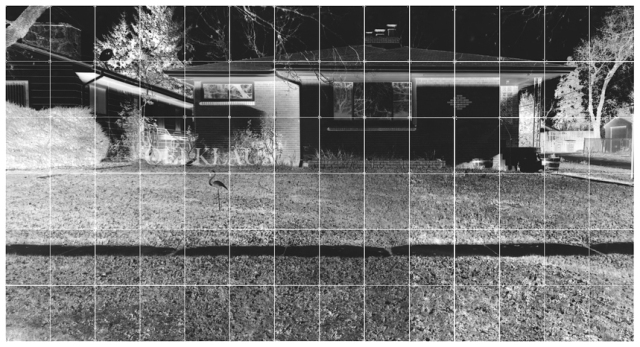 "House, 5'x 10' consisting of Eighty-four 8""x10"" Silver Gelatin Prints taken with my Pinhole Camera Truck, 2013"