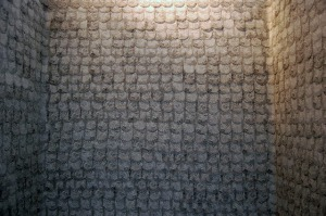 to scale the walls, Installation: thousands of cut shapes, Xerox on vellum, approximately 8' x 6' x 8', 2013