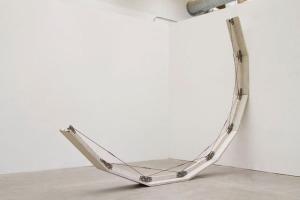 "Smile (2012), cast concrete, rebar, handmade hardware, 12' x 14' x 18"""
