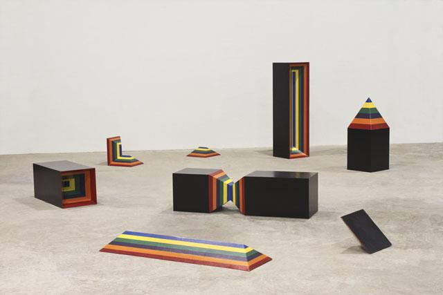 Triplets (2011), plywood, enamel, dimensions variable