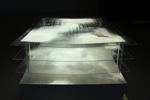 "Negotiate: drawing animation and video performance projected on plexi glass and sand-2012, 42""X42""X42"""
