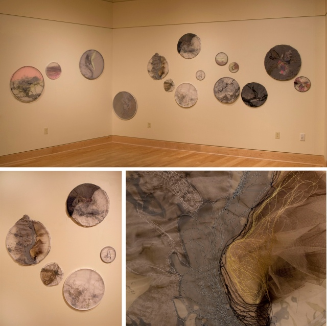 cumuli rising installation view and details mixed fabrics and stitching dimensions variable 2013