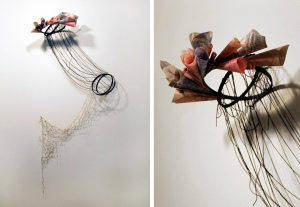 """disguise installation view and detail screenprint on paper, handmade net, wood, string 48""""x24""""x8"""" 2011"""