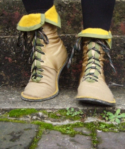 Land Boots – First Draft,  Wool, nylon, satin, rubber, cotton, acrylic felt, thread, grommets, laces, Size 6.5 US, 2012