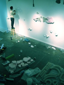 "Working in the ""studio"" (installing in a gallery space)"