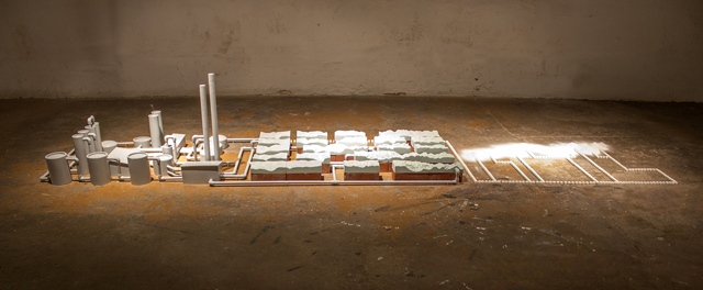 Conversation Machine (II) Medium:polystyrene, brick, porcelain, wood, PVC, paint, sugar, salt Size/Year:8'x 3'x 3'/2012