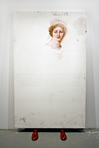 "Clytemnestra, oil on panel with shoe horns, 72x 42"", 2008"
