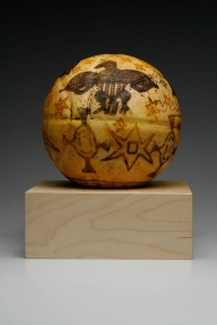 """""""Honoring Modern Unidentified 2,"""" Encaustic and Oil on Ceramic, 11"""" round, 2013"""