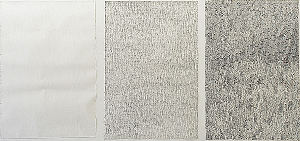 "Interference 1, 2 & 3,  6' x 51"" each, Triptych, graphite and tape on paper, 2012"