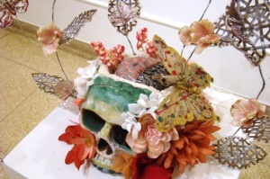 Lobotomy. Cast Aluminum, Mouse Bones, Found Objects, Mixed Media. 12_ x 20_ x 12_. 2012