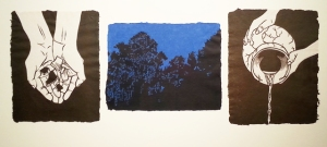 "Fragment, Linoleum blocks on handmade papers in triptych format, 9"" x 30"", 2014"