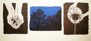 "Fragment, Linoleum blocks on handmade papers in triptych format, 9"" x 30"", 2014"