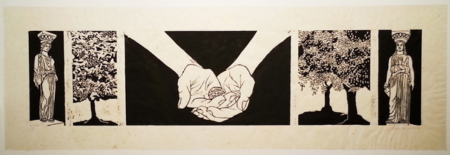 "Frieze, Woodblock on handmade abaca paper, 12"" x 42"", 2014"