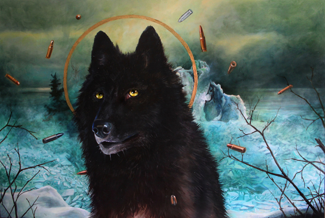 "St. Gitche Gumee: The Hunted, Oil on Board, 24"" x 36"""