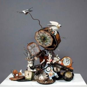 Time Flies. Found Objects, Mixed Media. 31_ x 28_ x 16_. 2013