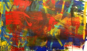 Untitled Abstract XVIII, Acrylic Oil Pastel on Infrastructure Canvas, 36 in x 60 in, 2014