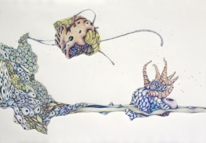 #9 (Family Tree series), Colored pencil, graphite on paper, 28 ½ x 40 inches, 2014
