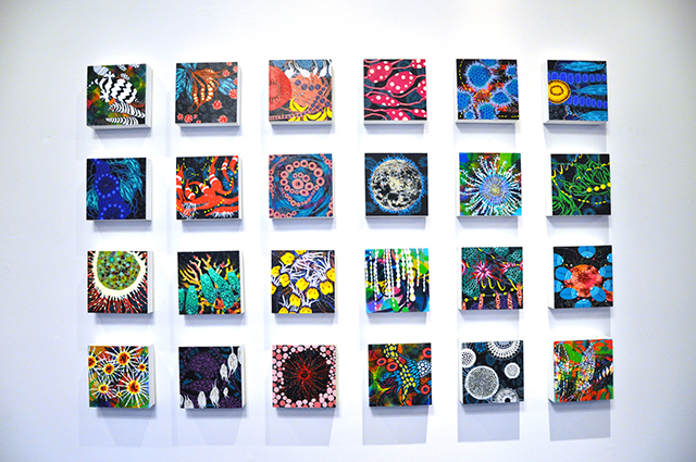 "Fieldnotes: A Pond of Stars installation, acrylic on panel, 6"" x 6"" each, 2014"