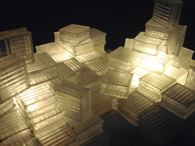 Unnatural Ice, glass mason block, light bulbs, and electrical components, dimensions vary, 2011