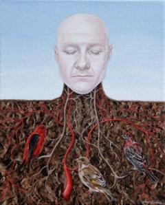 """Synergy - acrylic on canvas, 8""""w x 10""""h, 2010"""