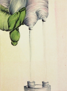 "Surge Endow, 2013, Acrylic, Ink, Paper, 5 ½"" x 4 ½"""