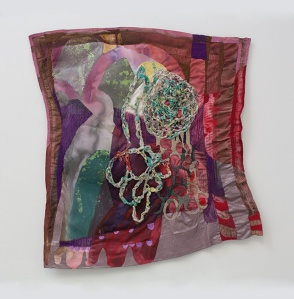 "Bruised Plum, Acrylic/latex paint, thread, plastic, fabric, polyfill, 28"" x 26"", 2013"