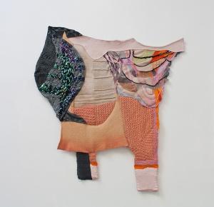 "Auguri Auguri, ping pong ping pong, Acrylic/latex paint, thread, yarn, sequins, 37"" x 36""   , 2013"