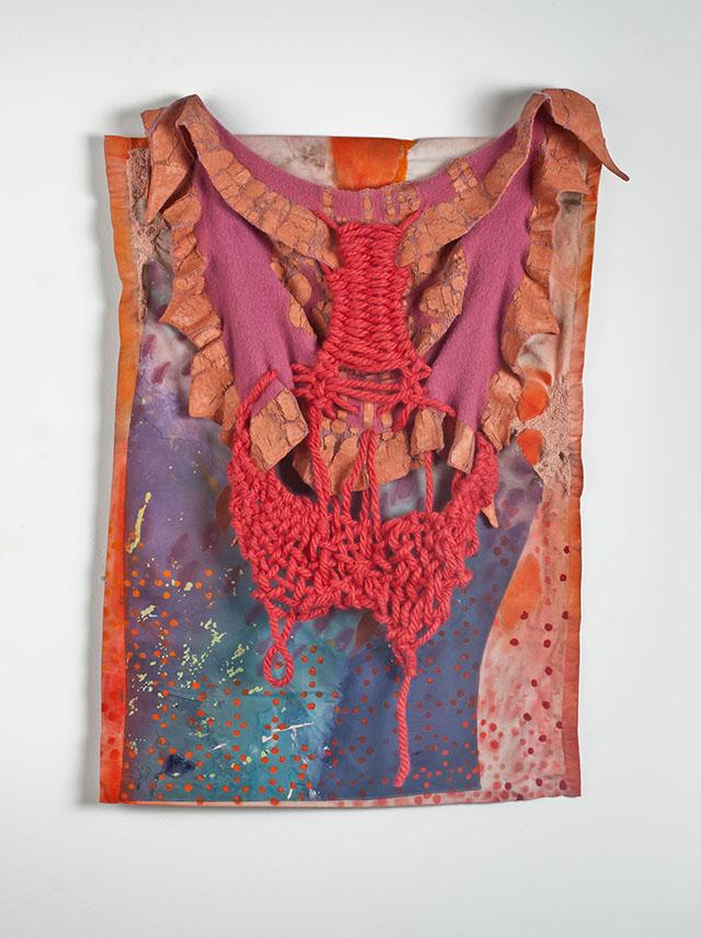 "Corporeal, Acrylic/latex paint, thread, yarn, fabric, 31"" x 22.5"", 2013"