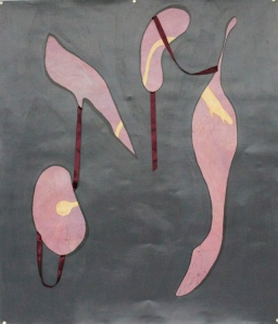 Exactly the Same, But Different, Acrylic and Ribbon on Paper, 4 feet 3 inches by, 3 feet 7.5 inches, 2014