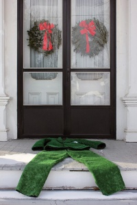 The Doormat Suit, 2012, Plastic grass doormats adhered onto complete and functional men's suit, Dimensions variable