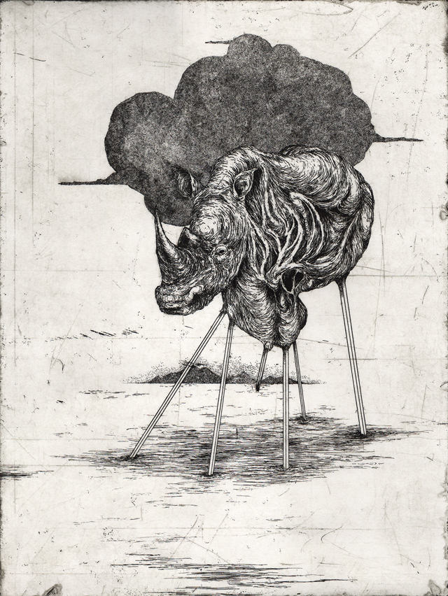 Horned, Etching, 9in x 12in, 2014