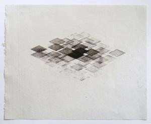 """Metamorphosis/Athens,Trace A, Improvisation X"", powdered pigment on handmade 100% cotton paper, 37 cm x 30 cm, 2014"