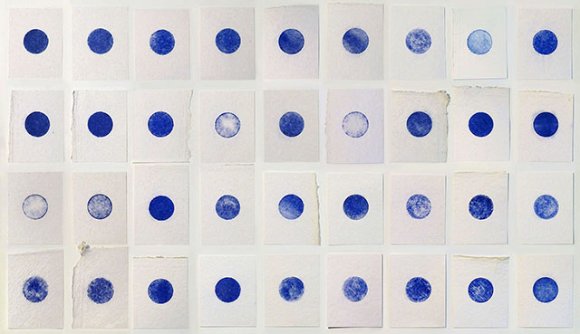 """Thirty six blue moons"", powdered pigment on handmade 100% cotton paper, 114 cm x 65 cm, 2013"