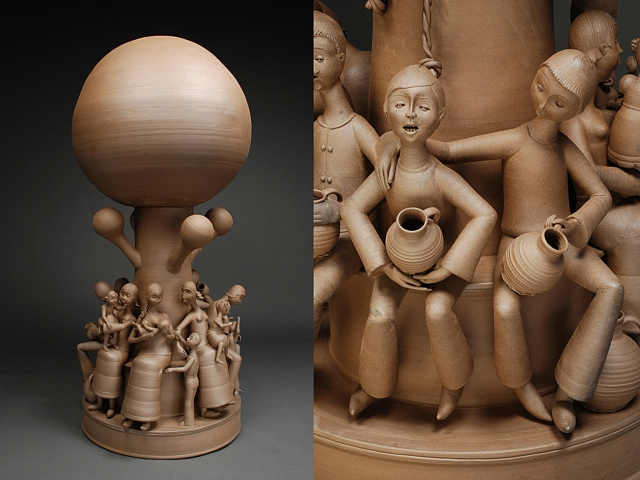 "Village Tree 2011, Stoneware, H. 55"" x W. 23"" x D. 23"""