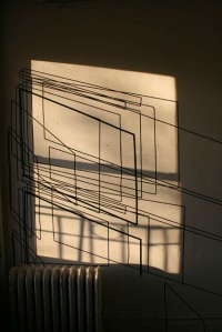 """Mapping the Light"" Sunlight, masking tape Dimensions variable 2013-2014"